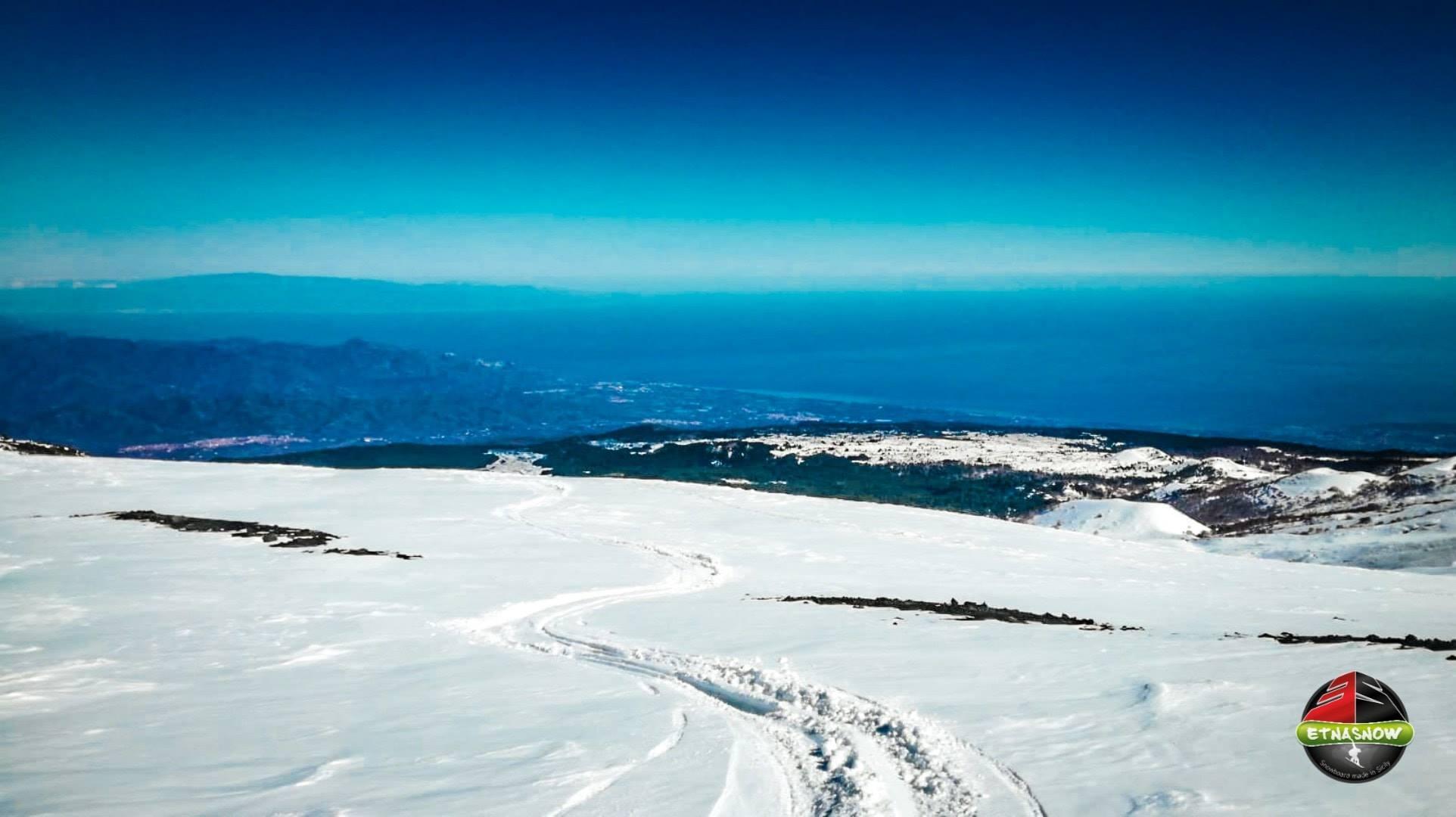 La visuale dell'Etna innevata versante Nord - Inverno 2019